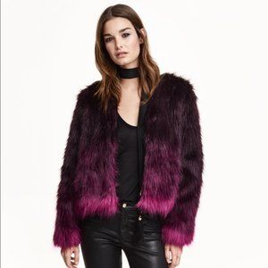 H&M Brown Deep Purple Pink Ombré Shaggy Faux Fur Short Jacket Coat